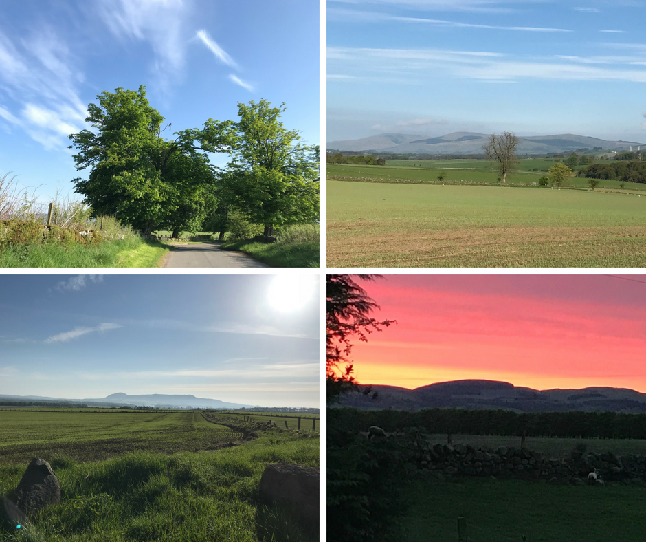 Four beautiful scenes of spring in Scotland: sunset, a track, hills and a loch, the sleeping giant